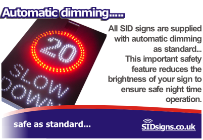 slow down speed signs auto dimming explained